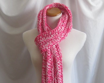 Scarf Bulky Chunky Crochet Scarf - Extra Long in Hot Pink and White