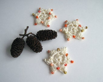 3 Crochet Beaded Flowers Mini - Creamy Off White with Shaded Orange Beads - Set of 3