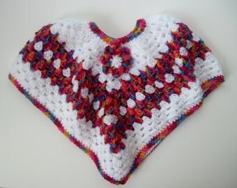 Baby Poncho Sweater - Crochet in White and Vibrant Pink, Red, Blue and Yellow with Flower Applique - 6 to 12 Months