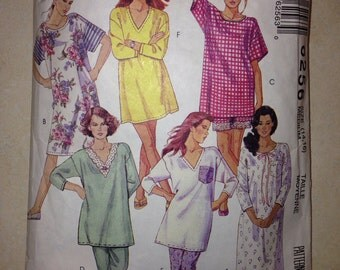 50% OFF COUPON CODE Vintage Easy McCall's Pattern 6256 - Misses' Nightshirt in Three Lengths and Pajamas Size Medium