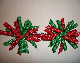 The Hair Bow Factory Red and Green Dot Christmas Korker Hair Bows Set of 2