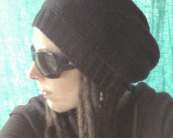 Black dreadlock hat - FREE SHIPPING dread beanie