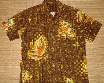Men's Vintage 60s Tribal Tapa Canoe Hawaiian Aloha Shirt - S - The Hana Shirt Co