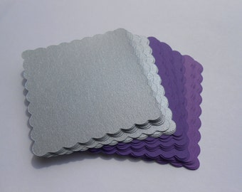 25 Scalloped Squares. 5.5 inch. CHOOSE YOUR COLORS, Weddings, Favor, Gift, Escort Card, Place Card