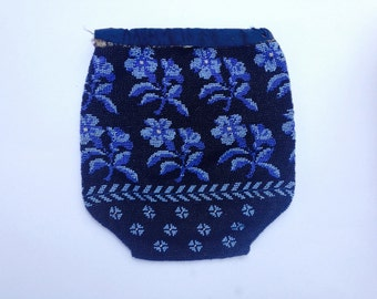 Vintage Blue Beaded Purse - Very Old Petite Floral Pouch
