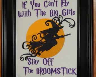 Fly With the Big Girls Embroidered Wall Art/Sampler in Black Frame