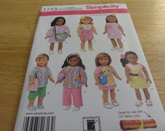 Simplicity Pattern 1713OS for 18 inch Doll Clothes