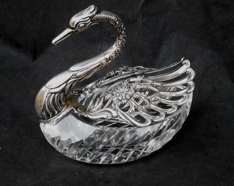 Birks  Germany Sterling Crystal Swan Master Salt Articulating Wings