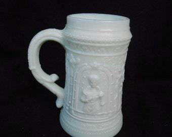 Greentown Westmoreland Custard Glass Troubadour Pattern Stein