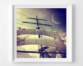 """Peter Pan Photograph Unframed / nursery gift night sky twinkle stars boat moon ship sails / photography print / """"Second Star to the Right"""""""