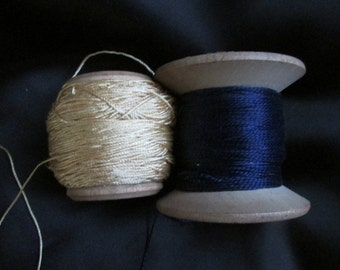 Vintage Gold and Rich Navy Blue Pure Silk Thread,  Vintage Sewing Supplies, Vintage Seamstress Supplies