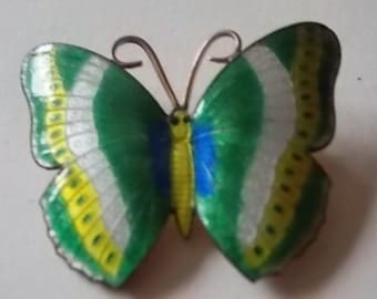 Vintage Guilloche Enamel Butterfly Brooch Large Very Colourful