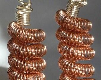 Shiny copper coil earring dangle set, leverback hooks