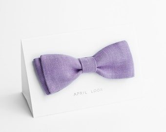 Lavender bow tie, self tie bow tie - double sided