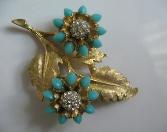 HAR TURQUOISE FLOWER Brooch,  Retro 1950's, 60's