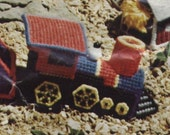 Train Locomotive Plastic Canvas Needlepoint Kit PARTIALLY COMPLETED/Some Supplies Missing