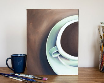 Teal Coffee Cup - Original Oil Painting, 11x14 Painting, Kitchen Art, Coffee Home Decor, Coffee Wall Art, Coffee Cup Painting