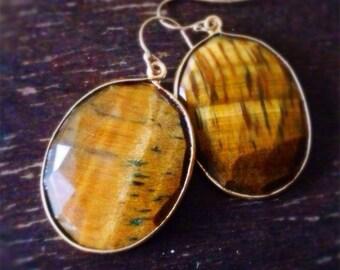 Tigers eye Earrings - Gold Jewelry - Bezel Gemstone Jewellery - Fashion - Chunky