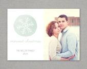 Christmas Photo Card - Watercolor Snowflake