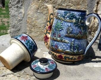 Japan Giant Blue Tea Pot with Strainer, Large Blue Teapot with Strainer Made in Japan