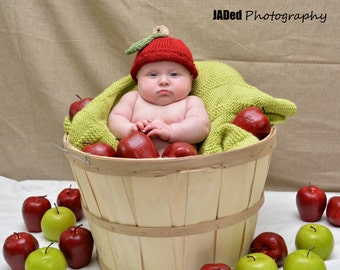 Red Apple Knitted Hat, Baby Infant Toddler Child sizes, Fall, handmade knitting