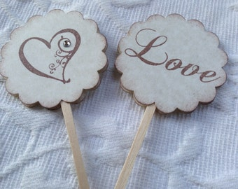 Set of 12 Heart - Love Cupcake / Food Picks - Wedding - Bridal Shower