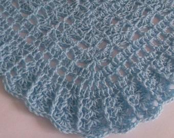 Crochet Baby Blanket / Afghan Blue Christening, Baptism,  Granny Square Crochet Blanket, gift