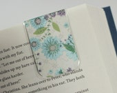 Magnetic Bookmark, Laminated Bookmark, Blue Metallic Flower, Purple Flower, Vines, Ready to Ship