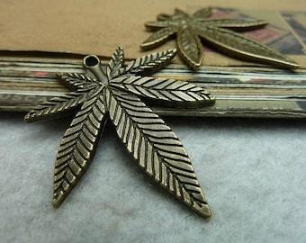 10pcs 33x38mm The Leaves Antique Bronze Retro Pendant Charm For Jewelry Bracelet Necklace Charms Pendants C7165