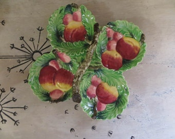 NBU Wales Divided Dish with Fruit and Branch Handle Serving Dish Condiment Dish Appetizer Plate Divided Plate Serving Plate Pottery Plate