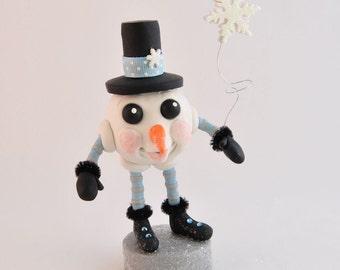 Polymer Clay Snowball Snowman Figurine