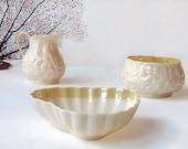 Belleek creamer and sugar bowl, Belleek heart shaped candy dish, 0857 green mark