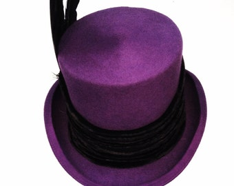 Victorian Steampunk Raven Purple top hat