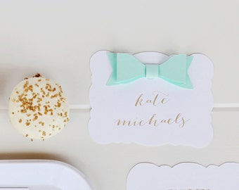 Kate Place Card - Personalized Place Cards with Bow - Set of 25