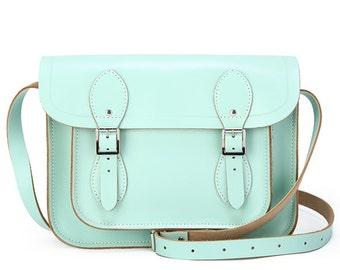 Aqua green genuine leather satchel messenger bag