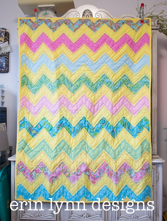 Sunshine Yellow, Pink, Lime, Aqua Chevron Hand Quilted Baby Blanket