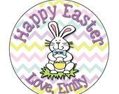 24 STICKERS, Easter Bunny Stickers, Personalized Easter Stickers, Happy Easter Stickers, Bunny Stickers, Easter Envelope Labels  (330