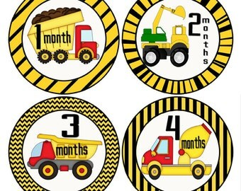 Dump Truck Stickers, Construction Monthly Baby Stickers, Truck Stickers, Yellow and Black Stickers, Photo Prop Stickers (177)
