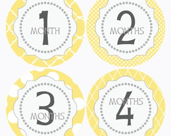 Baby Month Sticker Polka Dot Monthly Sticker Yellow Milestone Sticker Baby, Baby Photo Prop, Bodysuit Sticker, Baby Photo Prop (190)
