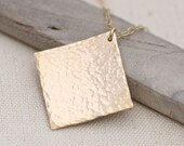 Hammered Gold Necklace, Gold Layering Necklace, Simple Gold Necklace, Minimalist Jewelry
