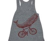 Workout Tank - Whale on a Bike Funny Tanktop - Workout Clothes For Women - Running Shirt - Run Tank Top - Run Shirt - Gym Tank Top