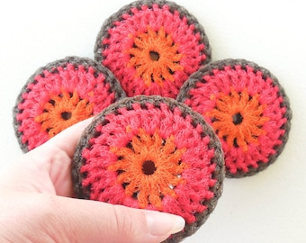 Crochet Nylon Dish Scrubbers - Set of 2 through 8 - Fall Colors, Orange, Red and Brown Pot Scrubbies