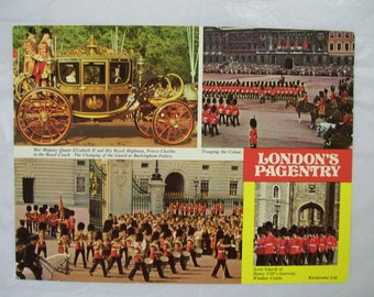 Jumbo London Souvenir Postcard, Vintage,  4 Pictures in 1,  Londons Pagentry, Royal Family, Windsor Palace, Guards