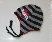 the LINCOLN beanie in black and gray stripes, multiple sizes, great photography prop