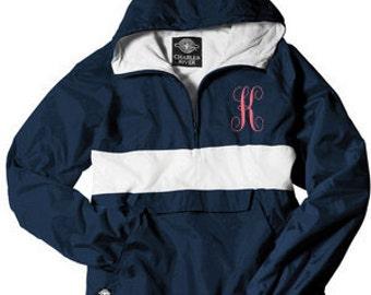 Monogrammed Personalized Navy and White Stripe Half Zip Rain Jacket Pullover, Sorority Jacket, Windbreaker, Pink Stripe Pullover~10 colors