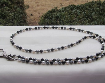 Black Gray White ID Badge Lanyard Swarovski Pearl Beaded Lanyard Necklace ID Badge Holder