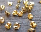 Gold Earring Backs, Ear Nut, Clutch, Gold Tone, Nickel Free 50 prs