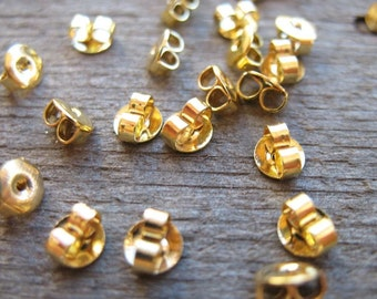 50 pairs Gold Earring Backs 5mm Nickel Free