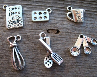 12 Silver Baking Themed Charms Mixed Set Antiqued Silver
