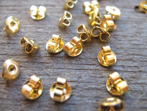 50 pairs Gold Earring Backs 5mm Nickel Free